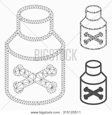 Mesh Poison Phial Model With Triangle Mosaic Icon. Wire Frame Polygonal Mesh Of Poison Phial. Vector