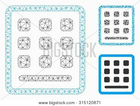 Mesh Keypad Model With Triangle Mosaic Icon. Wire Carcass Triangular Mesh Of Keypad. Vector Composit