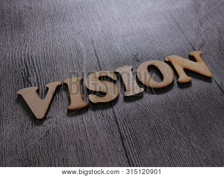 Vision Words Letter. Motivational Business Typography Quotes Concept