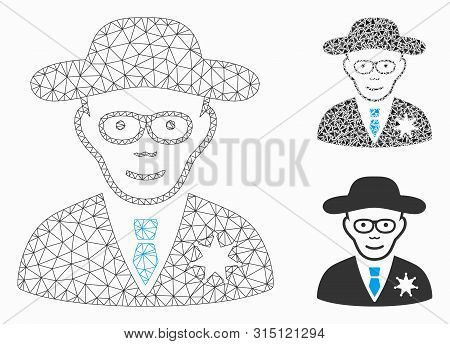 Mesh Sheriff Model With Triangle Mosaic Icon. Wire Frame Polygonal Mesh Of Sheriff. Vector Mosaic Of