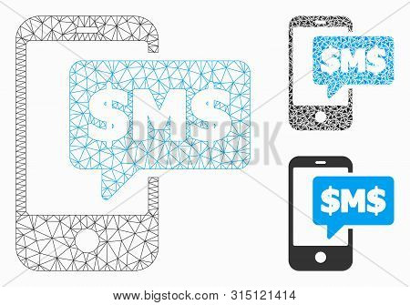 Mesh Phone Sms Model With Triangle Mosaic Icon. Wire Carcass Triangular Mesh Of Phone Sms. Vector Mo