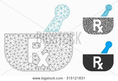 Mesh Pharmacy Mortar Model With Triangle Mosaic Icon. Wire Frame Triangular Network Of Pharmacy Mort