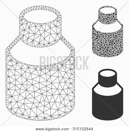 Mesh Phial Model With Triangle Mosaic Icon. Wire Frame Polygonal Network Of Phial. Vector Mosaic Of