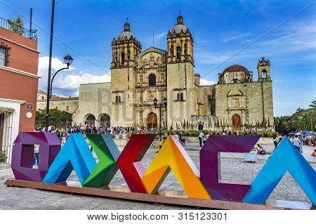 Oaxaca, Mexico - January 5, 2019  Oaxaca Sign Santo Domingo De Guzman Facade Church Monastery Oaxaca