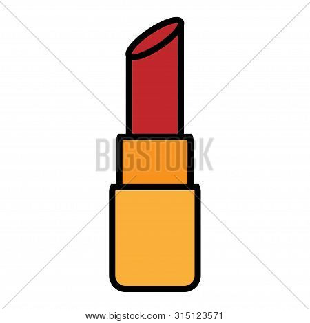 Flat Red Beautyfull Icon Simple Linear Fashionable Glamorous Cosmetics, Lipstick For Lip Make-up, Be