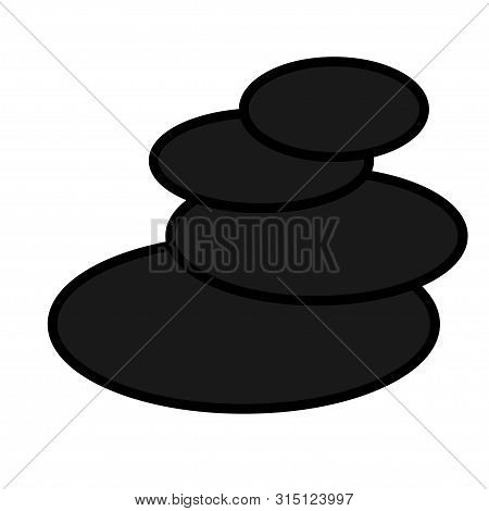 Flat Black Natural Simple Icon Of Trendy Glamorous Oval Round Basalt Stones For Massage And Stone Th