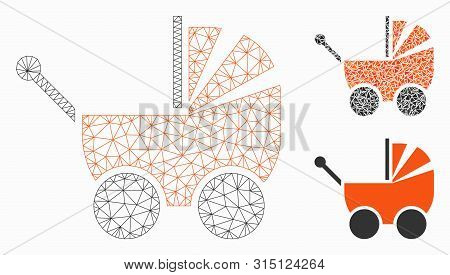 Mesh Pram Model With Triangle Mosaic Icon. Wire Frame Triangular Mesh Of Pram. Vector Composition Of