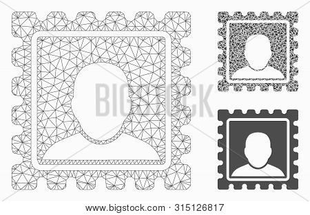 Mesh Postal Mark Model With Triangle Mosaic Icon. Wire Carcass Triangular Network Of Postal Mark. Ve