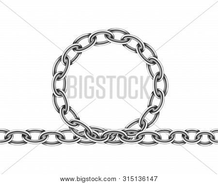 Realistic Metal Chain Texture. Silver Color Chains Link Isolated On White Background. Strong Iron Ch