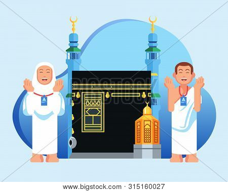Cute Couple  Muslim Pilgrims In Front Of  Kaaba And Maqam Ibrahim. Suitable For Info Graphic.