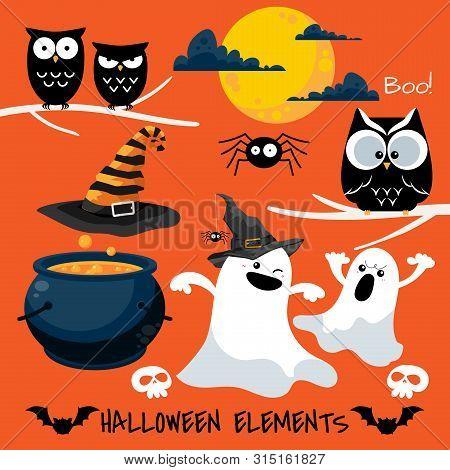 Set Of Halloween Elements And Symbols. Vector Illustration