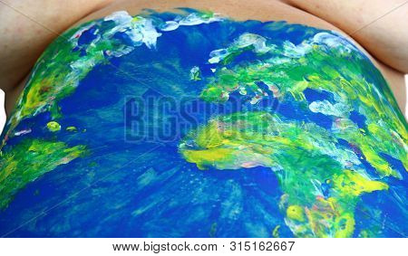 World Map Paint On Woman Belly, Mother Earth Concept