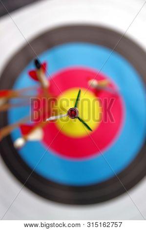 Few Arrows In Archery Target, Success Concept