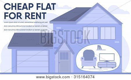 Housing Property Sale At Affordable Prices Banner. Cheap Flat For Rent Advertising Lettering. Cartoo