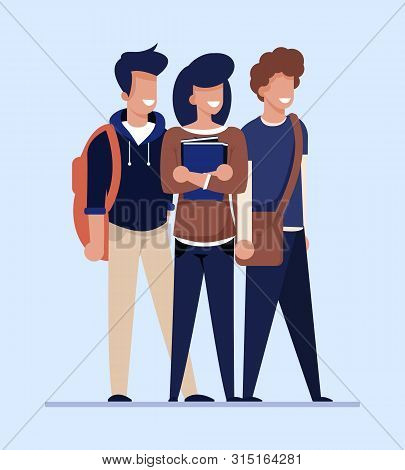 Cartoon Students Look For Cheap Flat, Apartment Or Room For Rent. Happy Smiling Male And Female Char