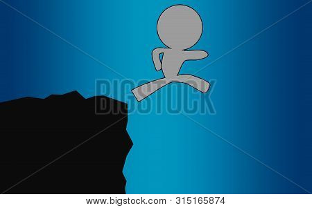 Human Figure Jump In Silhouette, 3d Rendering