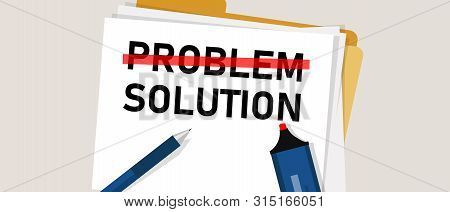 Problem Solution Searching Solutions By Solving Problems Concept.