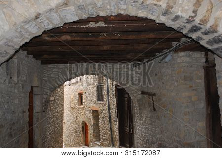 Architecture; Typical Stone Building Of The Pyrenees Mountains, Ainsa, Spain