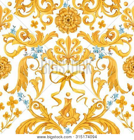 Watercolor Golden Baroque Pattern Rococo Ornament Rich Luxury Print