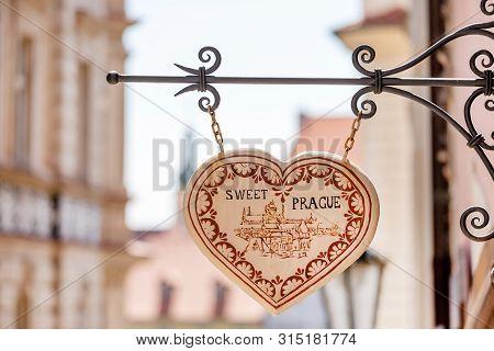 Prague, Czech Republic - May 8, 2019: Shop Sign In A Heart Shape In Prague, Szech Republic