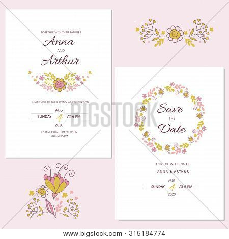 Wedding Floral Invitation Set With Floral Wreath.