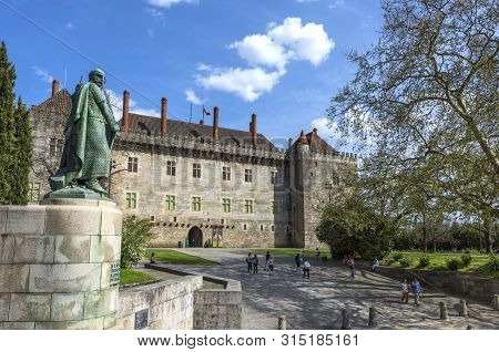Guimaraes, Portugal  - April 2018: View O The Palace Of The Dukes Of Braganza