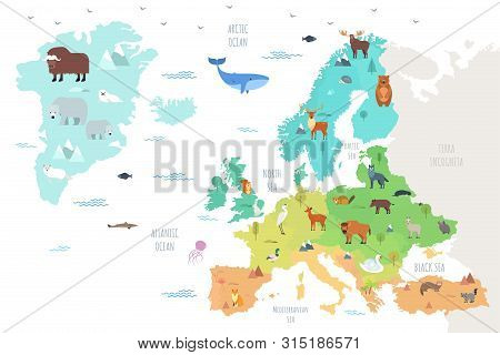 World Map With Funny Wild Animals Living On European Continent. Adorable Cartoon Herbivore And Carni