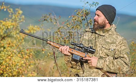 Bearded Hunter Spend Leisure Hunting. Hunting Equipment For Professionals. Hunting Is Brutal Masculi