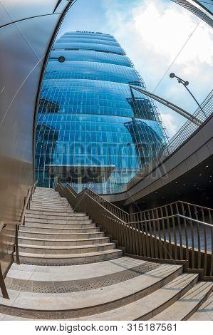 Milan, Italy - June 28, 2019: Allianz Tower By Arata Isozaki And Andrea Maffei In City Life Complex,