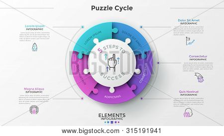 Modern Infographic Options Banner With Pie Chart Divided Into 5 Puzzle Elements. Vector. Can Be Used