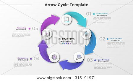 Cyclical chart with 5 paper white circles, thin line icons, numbers and text boxes connected by colorful arrows. Concept of production cycle process. Infographic design template. Vector illustration. poster