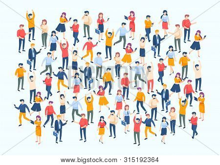 Isometric People Crowd. Large People Group, Different Male And Female Characters, Business Audience