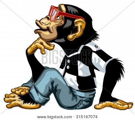 Cartoon Intelligent Chimpanzee Wearing A Red Glasses Smart Great Ape Or Chimp Monkey Sitting In Thin