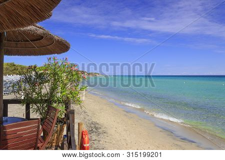 Apulia Relax. The Most Beautiful Sand Beaches Of Salento: Alimini Bay, Italy (lecce). It Is A Vast S