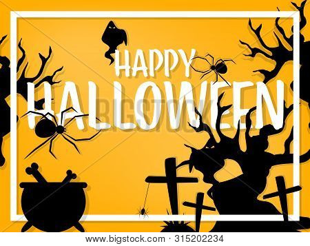 Halloween Background With Halloween Elements, Spiders And Web And Happy Halloween Text.