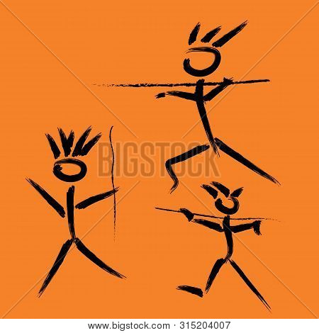 Imitation Of Cave Paintings Of Prehistoric People Hunting With Spears, Drawn By Hand. Prehistoric Pe