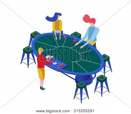 Blackjack Game Isometric Vector Illustration. Gamblers Playing Classic Casino Games, Female Croupier
