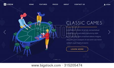 Casino Card Games Isometric Landing Page. Gamblers Group Playing Blackjack, Croupier And Players Sit