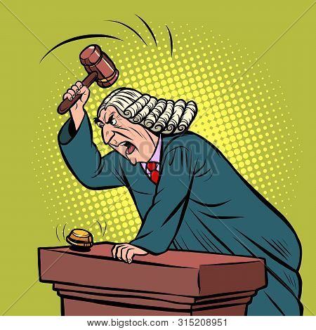 Mantle Judge Adjudicates In Courtroom. Pop Art Retro Vector Illustration Drawing