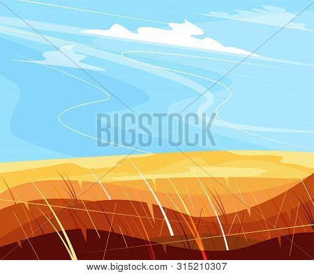 Ecotourism And Countryside Vacation. Ecology And Environment. Rural Landscape With Gold Field Of Whe