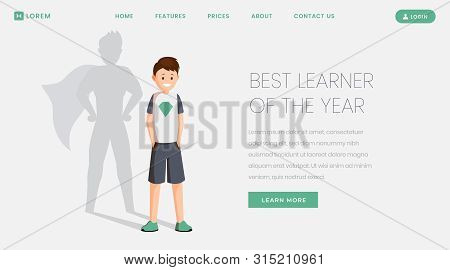 Best learner landing page vector template. Best pupil, excellent schoolkid of year website, webpage. Happy schoolboy with superhero shadow, teenager celebrating victory cartoon character poster