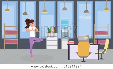 Girl Doing Yoga Flat Vector Illustration. Woman Practicing Yoga, Relaxed Office Worker Exercising Du