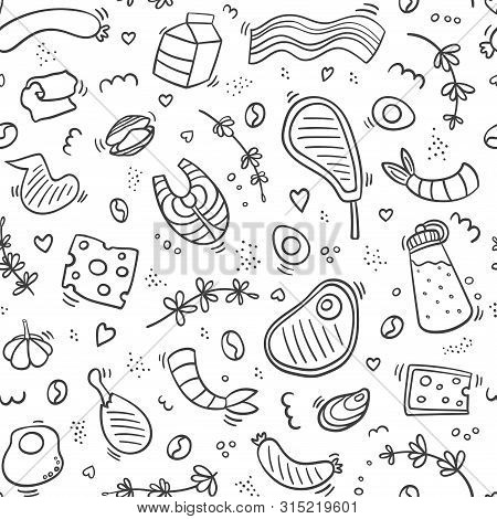 Carnivore Diet Seamless Pattern Doodle. Food Pattern With Pork, Meat, Shrimp, Egg, Cheese, Sausage,