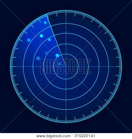 Vector Blue Radar Screen. Futuristic Hud Radar Display. Futuristic Hud Interface.
