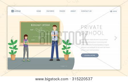 Private School Flat Landing Page Template. Cartoon Biology Teacher Explaining Plant Structure To Sch