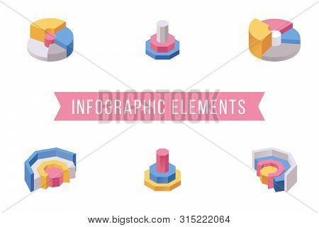 Pie Chart Elements Isometric Illustrations Set. Various Multi Level Donut Graph Slices, Circular Dia