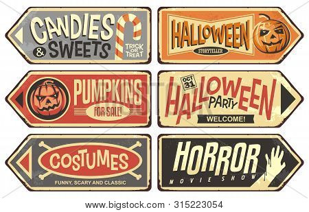 Halloween Events Retro Signs Collection. Halloween Party, Storyteller, Horror Movie Show, Pumpkins F