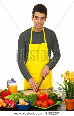 Handsome Man Cooking
