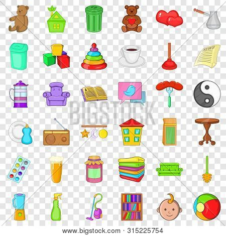 Housekeeping Icons Set. Cartoon Style Of 36 Housekeeping Vector Icons For Web For Any Design