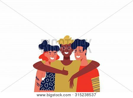 Happy Friends Hugging Together On Isolated White Background Copy Space. Three Young Women And Men Ad